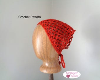 Crochet kerchief etsy kerchief bandana crochet pattern lacy headband worsted yarn tie back easy crochet dt1010fo