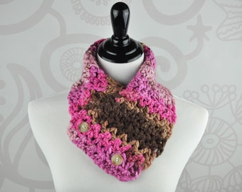 Scarf - Neckwarmer - Pink and Brown - Crochet