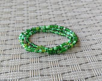 Fifty (ish) Shades of Green Beaded Wrap Bracelet
