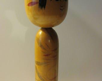 "7 1/8"", Signed, Vintage Girl Kokeshi Doll from Fukushima"