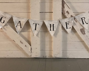 Gather Painted Burlap Banner Shabby Chic Style Burlap Bunting Banner Wedding Baby Shower Party Decor holiday decor