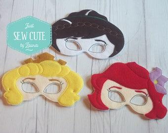 Princess machine embroidered mask