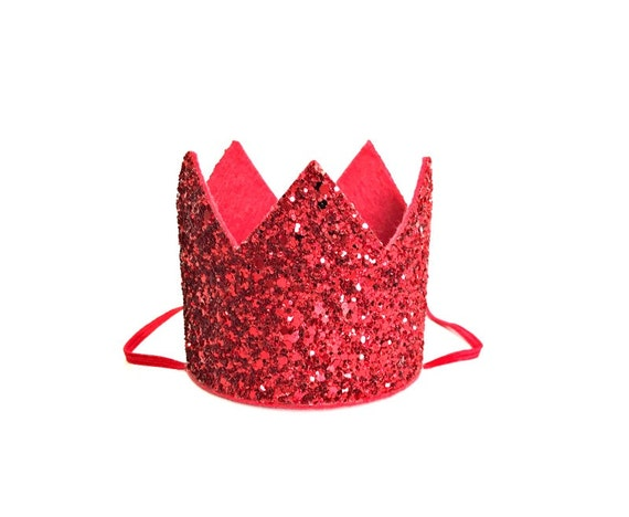 Pet Birthday Crown Glitter Red Animal Party Birthday Party Photo Prop