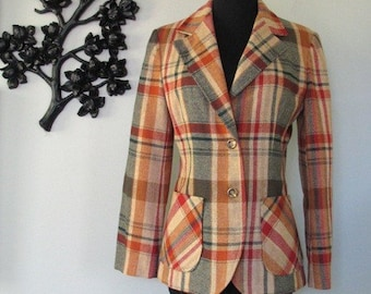 1970's WELL DRESSED rusty plaid jacket- size M