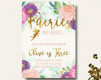 Woodland Invitation Fairy Invitation Fairy 1st Purple Fairy First Birthday Lilac Boho Chic Floral Garden Party Tea Party Invitation