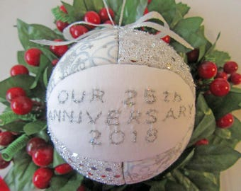 2018 Christmas Ornament, Our 25th Silver Anniversary Ornament, Wedding Gift, Gift For Him, Gift For Her, Mr. and Mrs. Gift, Gift Under 20
