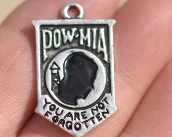 10 Silver POW MIA Charm SC1089