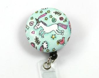 UNICORN Fabric Badge Reel, Button Badge Reel, Retractable Badge Reel, Unicorn Badge Holder