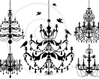 Vintage chandelier clip art set with birds, digital clipart, scrapbooking, home decor, cottage chic, silhouette, SVG files, instant download