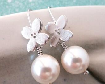 Talulla- Sakura flower and Swarovski Pearl Earrings, Bridesmaid Flower Pearl Earrings, Bridal Brides Jewelry, Garden Wedding Jewelry