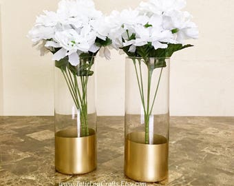 2 Gold Dipped Vases, Wedding Centerpieces,Baptism Centerpieces,Bridal Shower Centerpieces,Baby Shower Centerpieces, Sweet 16 Centerpieces.