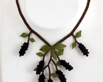 Crochet Necklace,Black Crochet Necklace, Black Fruits Necklace,Fruit bib,purple berry bib,black necklace,choker,crochet,bib,
