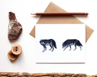 Gray Wolf Card - Pair of Wolves - Wolf Print - Wolf Art - Illustrated Greeting Card - Animal Lover - Animal Stationery - Canadian Wildlife