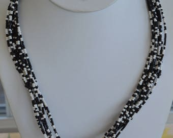 """Black, White Glass Seed Bead Multi-Strand Necklace, Vintage, 21""""-24"""""""