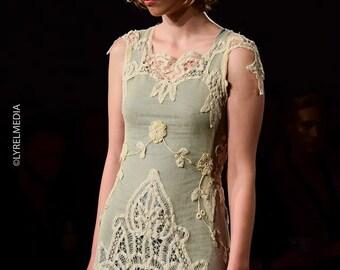 Ivory Lace Wedding Gown/Alternative Wedding Dress/Open Back Wedding Dress/One of a Kind Wedding Dress/Dress made of Vintage Lace