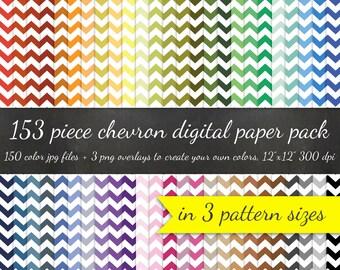 Chevron Digital Scrapbook 153 Piece Paper Pack - 3 Pattern Sizes 50 Colors Each and 3 Chevron Overlays - Digital Scrapbooking Paper