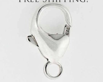 Sterling Silver 16mm EURO Lobster Clasp - 5 pcs of .925 lobster Claw - Made in Italy Trigger (Set of 5) - Free Shipping !