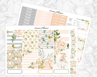 Champagne Bloom Little Weekly Kit (matte planner sticker, fits perfect in Erin Condren Life Planner Vertical)
