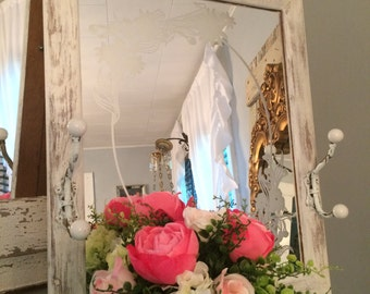French chic, shabby Foyer/hallway etched floral white distressed mirror with hooks