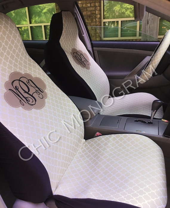 Monogrammed Car Seat Covers Front Seat Covers Back Seat Custom Steering Wheel Cover Monogram Personalized Seat Cover Car Beige Quatrefoil