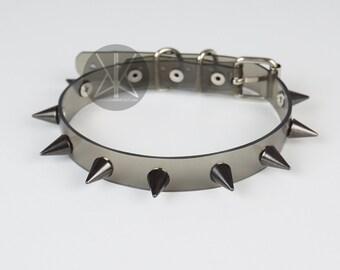 Black Spikes Choker Collar | Clear Choker | Spiked Choker | Transparent Vinyl | Black Metal | Baby Spike Choker | Kadabra