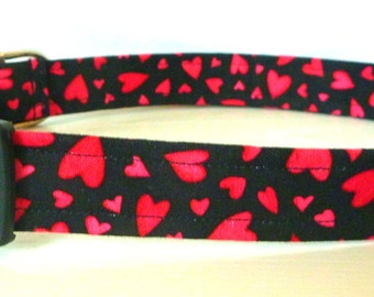 """Valentine Dog Collar - Red Hearts on Black -""""Queen of Hearts"""" - Free Colored Buckles"""