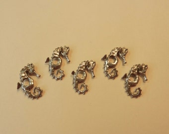 """SALE American Made, Solid Sterling Silver, Lost Wax Cast, Miniature 13/16"""" Tall Seahorse Charms/Pendants For Jewelry, Art And Embellishment"""