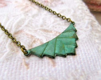 Green necklace Geometric necklace patina pendant necklace Boho Jewelry gift