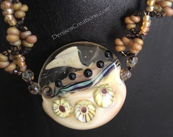 Lampwork Bead Focal Necklace with unique seed bead chain by Denise's Creations