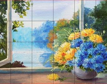 "Ceramic Tile Mural or Backsplash 24"" x 36"" Blue/Yellow Flowers by Window 388"