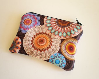 Coin purse, Small zipper pouch, Card wallet, Mandala, Gift idea, Mandala coin purse