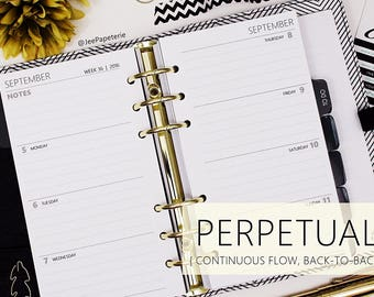 Printed PERSONAL/COMPACT size: PERPETUAL *Ruled* Horizontal Boxes Dated Weekly Planner Inserts - WO2P
