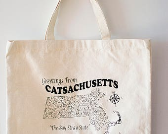 Catsachusetts Printed Tote