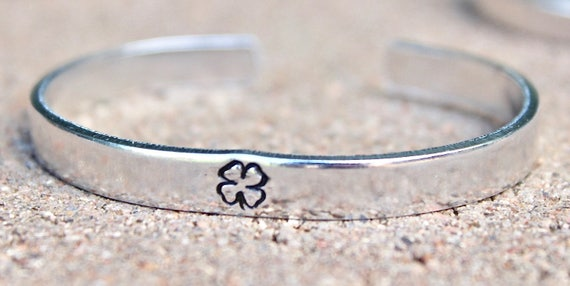Clover Bracelet, Clover Bangle, Four Leaf Clover Cuff, Clover Jewelry, Lucky Bracelet, Clover Bangles, Clover St Patrick Clover Jewelry Cuff