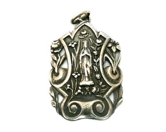 Vintage French Silver Virgin Mary Lourdes Medal
