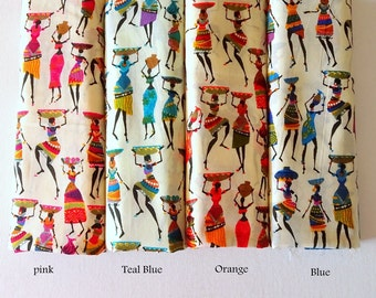 African Women Print cotton fabric, fabric with border, boho print cotton fabric, folk print, half yard