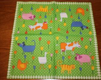 """Towel themed """"Farm - tulips"""""""