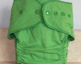 Fitted Preemie Newborn Cloth Diaper- 4 to 9 pounds- Kelly Green- 16038