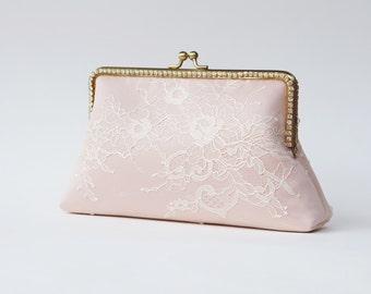 Blush Rose clutch / Personalized romance lace clutch / Bridesmaid clutch purse / Wedding Vintage inspired / Wedding clutch
