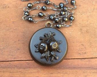 Antique Victorian Gutta Percha Mourning Locket with Fruit, Black Onyx Gemstone Chain