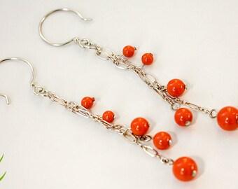 Coral Orange Swarovski Pearls Earrings, Two Strands Chain Earrings, Sterling Silver Chain Earrings, Long Pearls Earrings, Wedding Jewelry