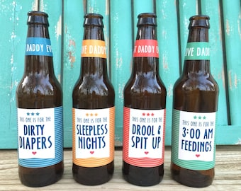 First Time Dad Beer Bottle Labels, Gift for Daddy, First Time Dad, Gift for Him, Daddy Milestones, Gift from Baby, First Father's Day Gift