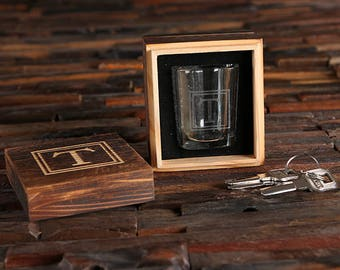 Personalized Shot Glasses with Wood Box Groomsmen, Best Man, Man Cave Gift Barware