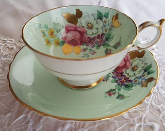 Vintage Paragon China Teacup, Paragon Bone China, By Appointment to Her Majesty the Queen,Mint Green, Gold Leaf, gift for her