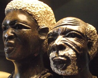 Pair African head father and son soapstone hand carved african art shona sculptures ethnic stauette