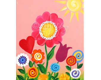 Pink Garden painting for girls room or nursery, 12x16 inch original acrylic art for childrens rooms