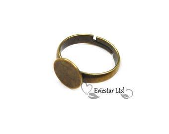 10pcs Brass Adjustable Ring Blanks, 8mm Flat Pad Glue, Antique Bronze, Children size,Lead & Cadmium Free, Jewellery Making Findings, RBB-14