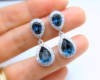 wedding bridesmaid bridal earrings prom gift pageant jewelry Clear white AAA cubic zirconia deep navy montana blue crystal teardrop post