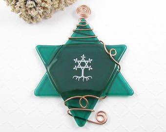 Emerald Green Star of David Ornament - Fused Glass Star of David Suncatcher - Hanukkah Star - Greem Glass Star Wrapped with Copper Wire  SOD