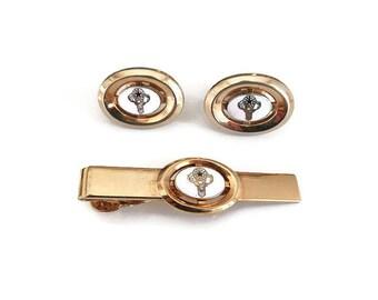 Anson BPOE Cufflinks Tie Clip - BPOE Elks, Gold Tone, Enamel, Elks Fraternal, Mens Cufflinks, Vintage Man, Vintage Jewelry